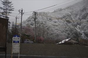 沢渡の駐車場から見える山々は白...