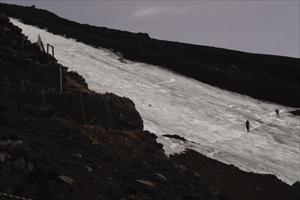 大きな雪渓を皆思い思いに滑り降...