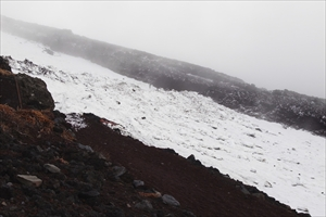 先週まではきれいな雪渓だったけ...