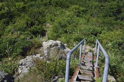 2段階の階段を下る。幅が狭いの...