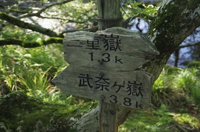 三重嶽から1.3km進んだ。下...
