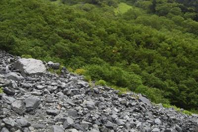 岳沢を渡り、左岸側に・・・。...