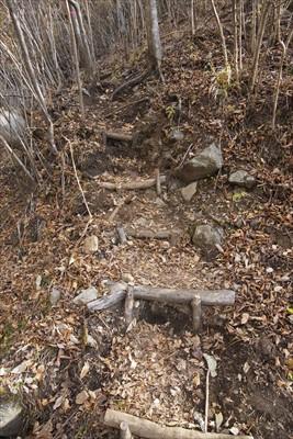 斜面の少し上に新しいルートが付...