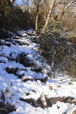 山頂直下は雪も多く段差が大きい...
