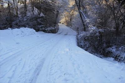早速雪道です。...