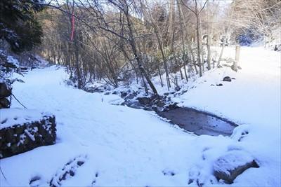 林道到着。雪のおかげで段差や凸...