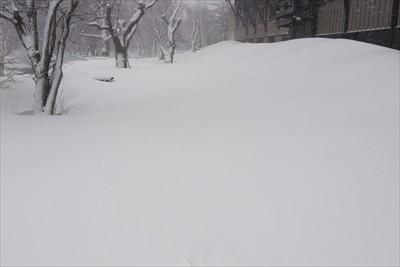 五千尺ホテルの横・・・。雪が先...