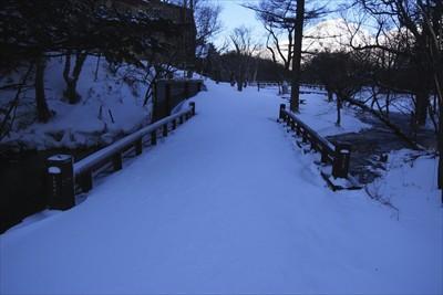 清水橋を渡る。トレースは無し。...