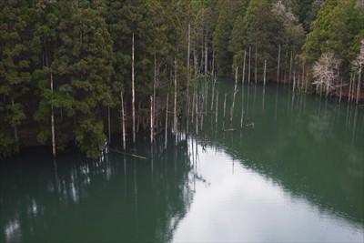 湖の色がすごいな〜。...