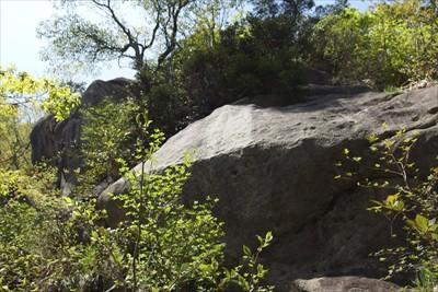 変な形の岩がある。...