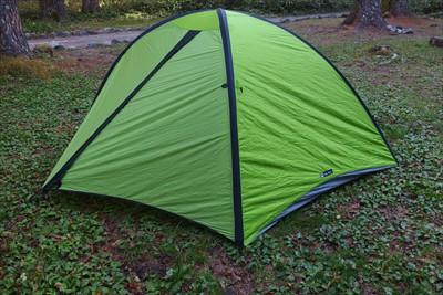 設営完了。すぐにでもテント内で...