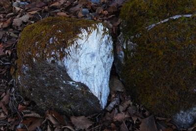 この岩も最近割られたっぽい。...