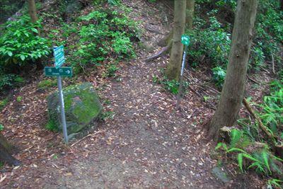 蟻の戸渡りへの分岐。右は浮石。...
