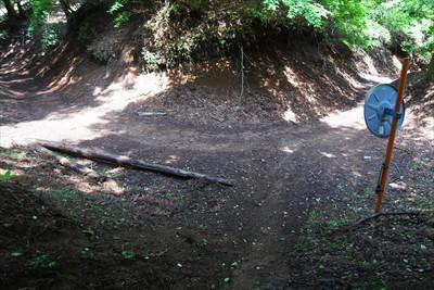 近づいて行くと林道が確認出来た...