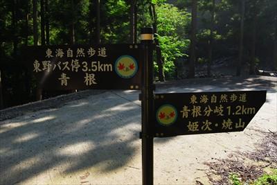 青根分岐まで1.2km。...