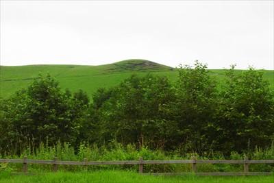 変な丘が見える。...
