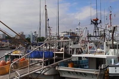 釧路川に並んだ漁船?...