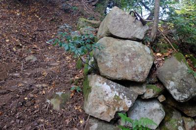 石積みが出てきた。鳥取城跡に入...