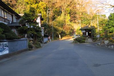 七沢温泉。正面中央の奥に見える...