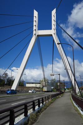 変わった形の支柱のある橋を渡る...