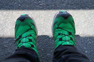 靴も抹茶色・・・というかわさび...