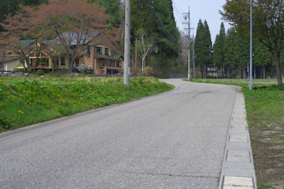 この辺りは歩道は無いし、路側帯...