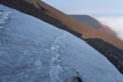 最後の雪渓をトラバースする。ス...