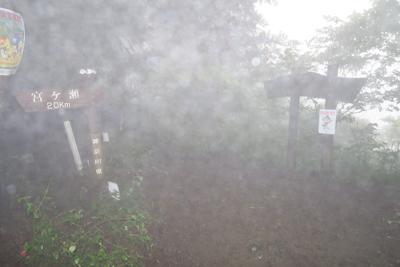 宮ヶ瀬越到着。稜線に出たら雨が...
