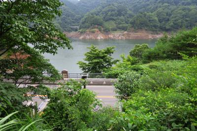 宮ヶ瀬湖が見えてきた。...