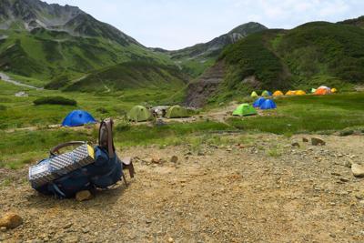 雷鳥沢キャンプ場到着。...