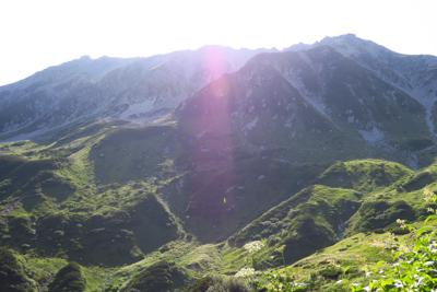 ここから見上げる立山は稜線のギ...