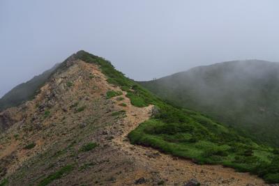 朝日岳の肩の分岐戻り、次の三本...