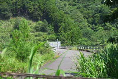 見にくいけど、清川橋の中央に悪...