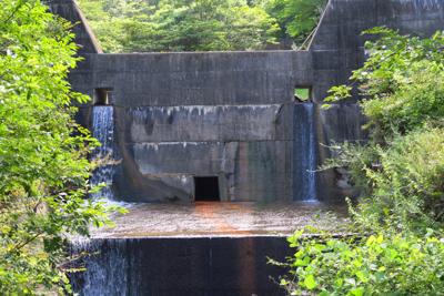 上流に砂防ダムがあります。...