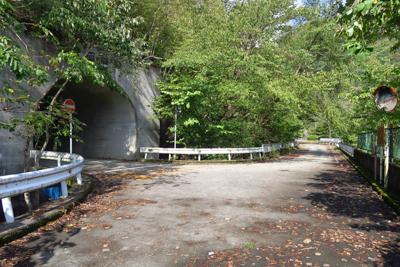 左に隧道があるけど、湖に沿って...