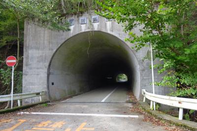 隧道をくぐる。...