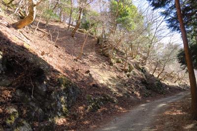 左の斜面から小石がパラパラ落ち...