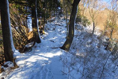 稜線上はほぼ雪があります。しか...