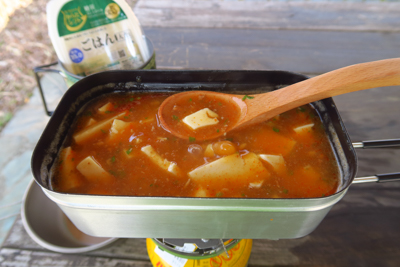 メスティンで麻婆豆腐を作り。奥...