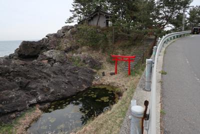 津波の記念碑を後にして進む。鳥...